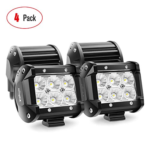 Nilight LED Light Bar 4PCS 4 Inch 18W LED Bar 1260lm Flood Led Off Road Driving Lights Led Fog Lights Jeep Lighting LED Work Light for Van Camper SUV ATV ,2 Years Warranty