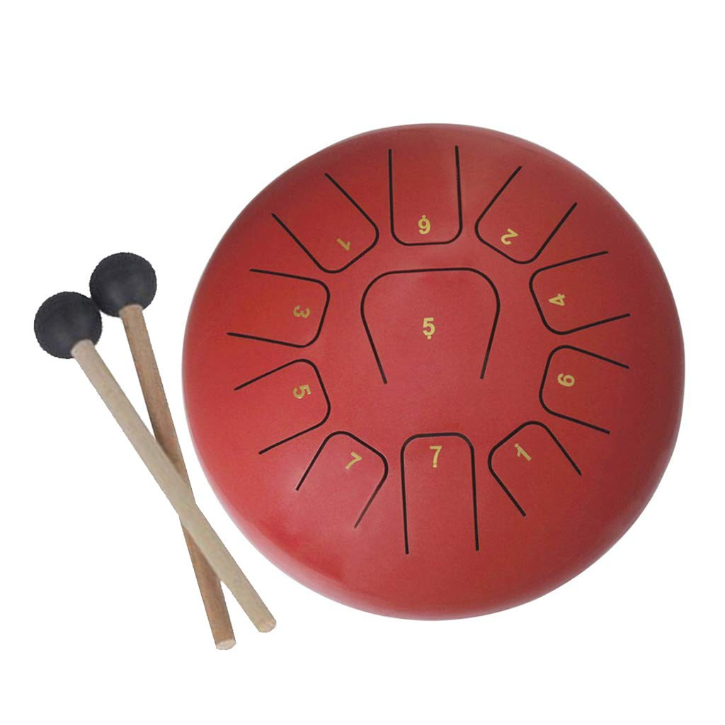 Baosity Steel Tongue Drum 11 Note Percussion Instrument 12 Inch Handpan Drum with Drum Mallets Carry Bag - White, 300x300x160mm 04d0772b008911a77380975a1c3bebee