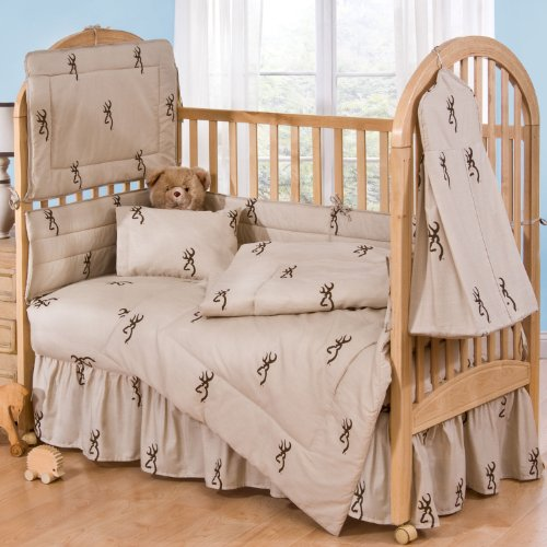 Browning Tan Buckmark- 4 Piece Crib Set includes (Crib Fitted Sheet, Crib Bumper Pad, Crib Headboard Pad, and Crib Comforter)- Save Big By Bundling! by Browning
