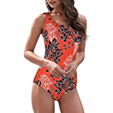 Zando One Piece Swimsuits for Women Athletic Training Swimsuits Tummy Control Swimsuits Bathing Suits for Women Red Black Pattern (Fixed pad) 10-12