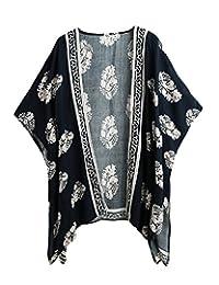 Romacci Women Bikini Cover Up Summer Kimono Cardigan Beachwear Floral Boho Blouse Top