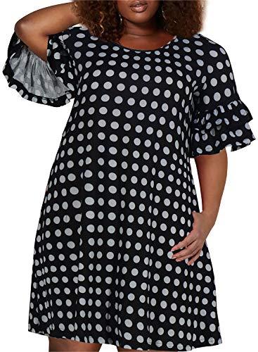 Nemidor Women's Ruffle Sleeve Jersey Knit Plus Size Casual Swing Dress with Pocket (Black Dot, 14W)