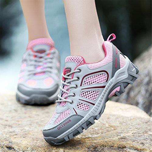 Women's Sneaker Leather Outdoor Pink Hiking Lightweight Breathable Men's Low Trekking Shoes Shoes Waterproof HBx4dw