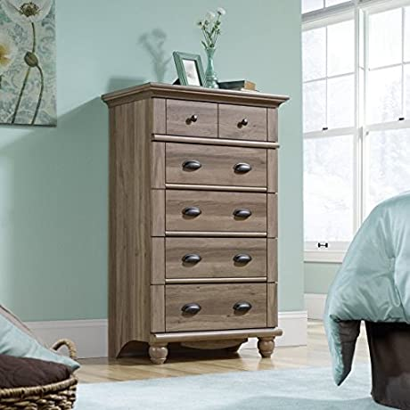 Country Style 5 Drawer Chest Salt Oak All 5 Drawers Feature Metal Runners And Safety Stops Solid Wood Attractive Design