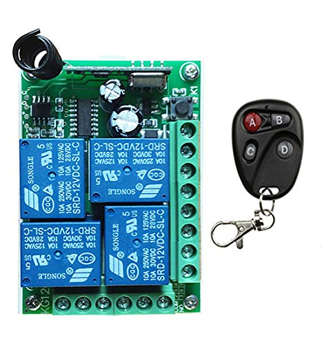 A DC12V 4CH 10A Radio Controller RF Wireless Push Remote Control Switch 433 MHZ 2 Transmitter +1 Receiver Garage Door Window lamp  (color  B)