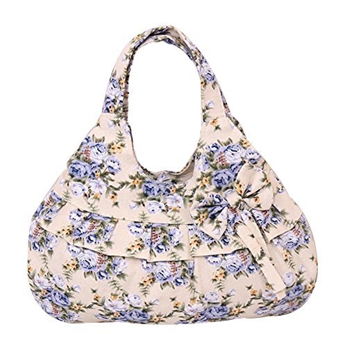 plum Blue Flower Zipper Red Women Shoulder flower Bowknot Print Tote Floral Casual flower Handbag Vicloon Bag Canvas wZt6U