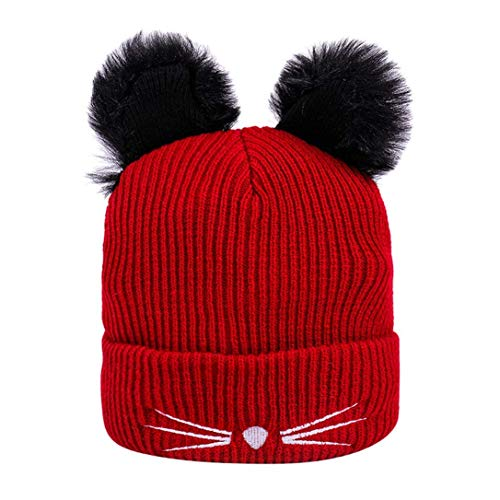 Winter Women's Cute Kawaii Cat Hats Thermal Knitted Wool Hemming Hat Outdoor for Youth Girls Red