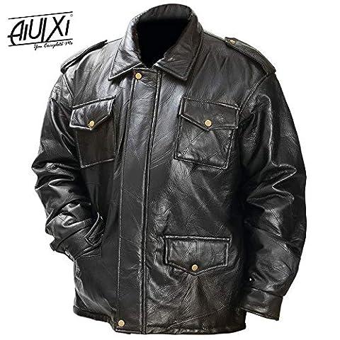 AiUIXi1991-New Mens Black Genuine Leather FIELD JACKET Bomber Coat Motorcycle Biker Lined 201X - BLACK - Morris Care Bear Costume