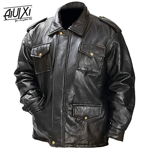Price comparison product image AiUIXi1991-New Mens Black Genuine Leather FIELD JACKET Bomber Coat Motorcycle Biker Lined 201X - BLACK (L)