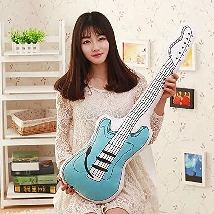 Guitarra eléctrica manta almohada 35.4 Inch Longitud Tamaño Grande de peluche, color azul