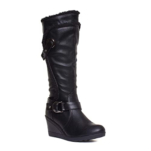 f720d5e327a Truffle Womens Black Wedge Knee High Boot  Amazon.co.uk  Shoes   Bags