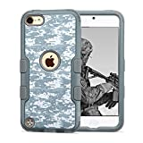 iPod Touch 5th 6th Gen Case, JoJoGoldStar Dual Layer Hybrid, Slim Fit Heavy Duty Polycarbonate and Silicone TPU Cover with Stylus and Screen Protector - Grey Camo