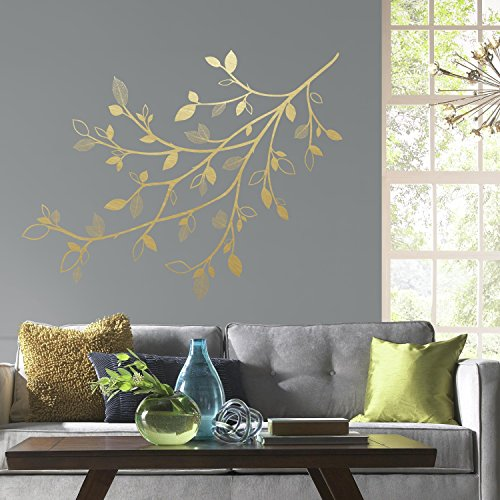 RoomMates Gold Branch Peel And Stick Giant Wall Decals With 3D Leaves