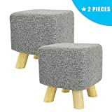 Jerry & Maggie – 2 Pieces Footstool Fabric Ottomans Bench Seat Foot Rest Step Stool with Feet Protection Design | Cubic – 4 Leg – Grey