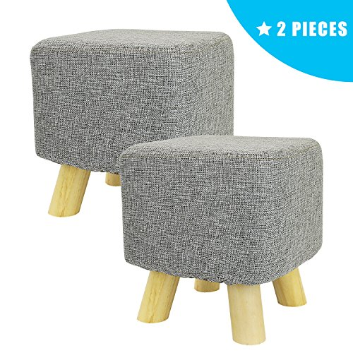 Jerry & Maggie - 2 Pieces Footstool Fabric Ottomans Bench Seat Foot Rest Step Stool with Feet Protection Design | Cubic - 4 Leg - Grey - 2 Piece Ottoman