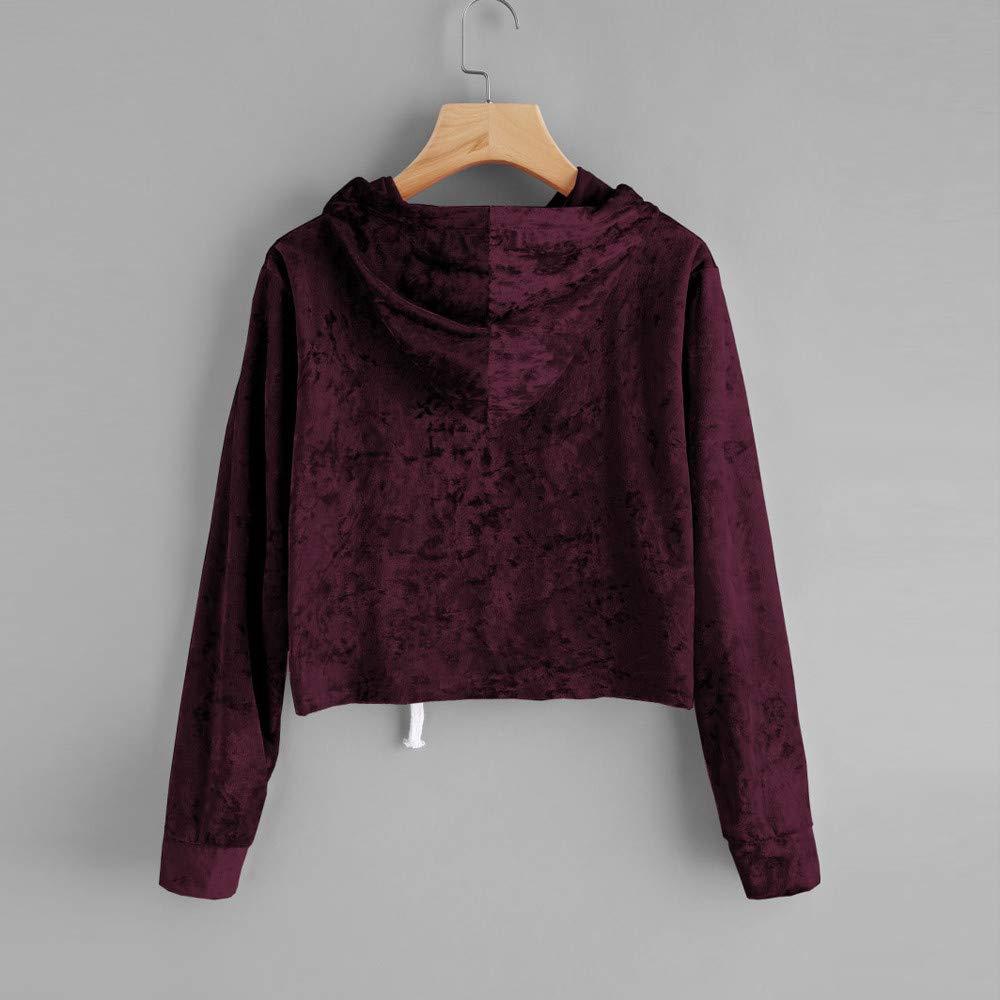 MYMYG Frauen Herbst//Winter Hoodie Sweatshirt Pullover Lose Crop Top Elegante Velvet Kapuzenpullover Neue Art-Dame Hoodies