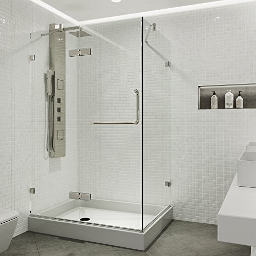 VIGO 36 x 48 Inch Frameless Rectangular Hinged-Pivot Shower Door Enclosure with Tempered Glass, Magnetic Waterproof Seal Strip and 304 Stainless Steel Hardware - Brushed Nickel Finish, Left Drain Base Included
