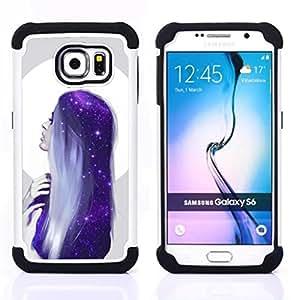 """Samsung Galaxy S6 / SM-G920 - 3 en 1 impreso colorido de Altas Prestaciones PC Funda chaqueta Negro cubierta gel silicona suave (Mujer de pelo Blue Moon Stars"""")"""
