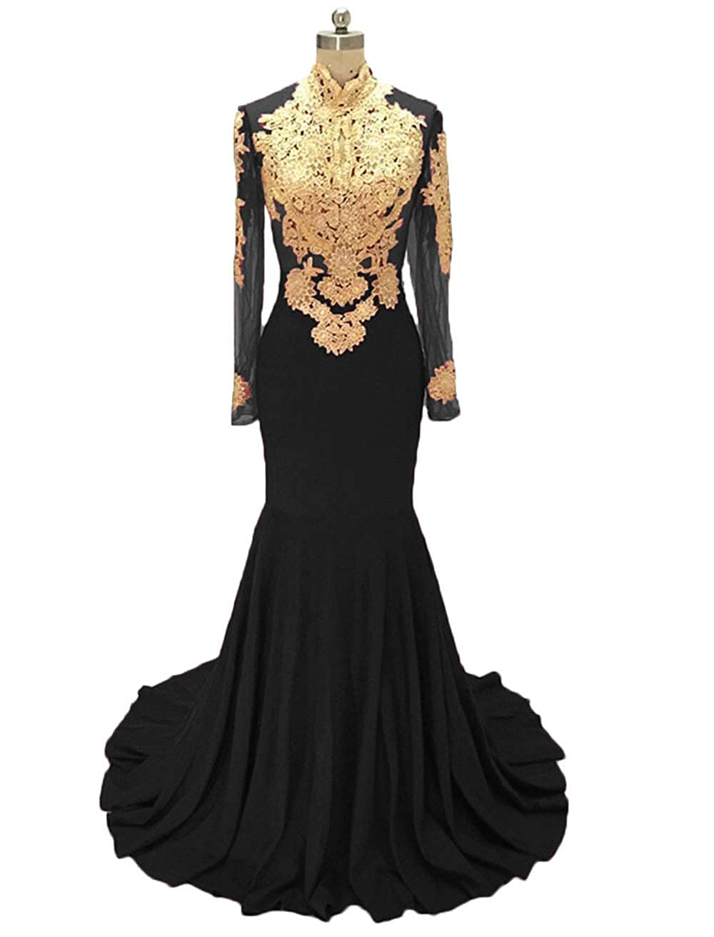 Black alilith.Z Sexy Mermaid Prom Dresses gold Appliques Long Sleeve Formal Evening Dresses Party Gowns for Women