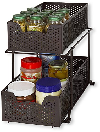 Simple Houseware 2 Tier Sliding Cabinet Basket Organizer Drawer, Bronze ()