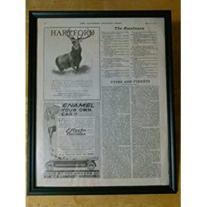 1926 HARTFORD INSURANCE AND EFFECTO AUTO FINISHES - FRAMED COLLECTIBLE PRINT ADVERTISEMENT