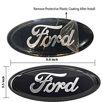 Black Front Grille Tailgate Emblem,1PCS,9 inch American Flag Oval Decal Badge Nameplate Also Fits for Ford 04-14 F250 F350,11-14 Edge,11-16 Explorer,06-11 Ranger: Automotive