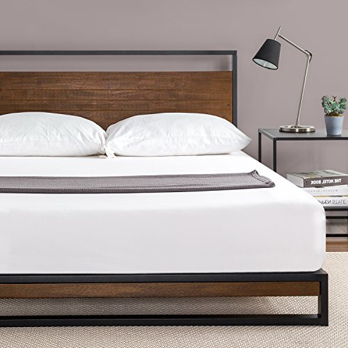 Zinus Ironline Metal and Wood Platform Bed with Headboard / Box Spring Optional / Wood Slat Support, Queen (Wood Headboard Bed)