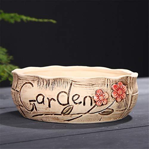 Large Caliber Korean Stoneware Vintage Garden Green Platter Flower Pot, Succulent Cactus Flower Pot/Plant Pot/Home Garden Office Desktop Decoration