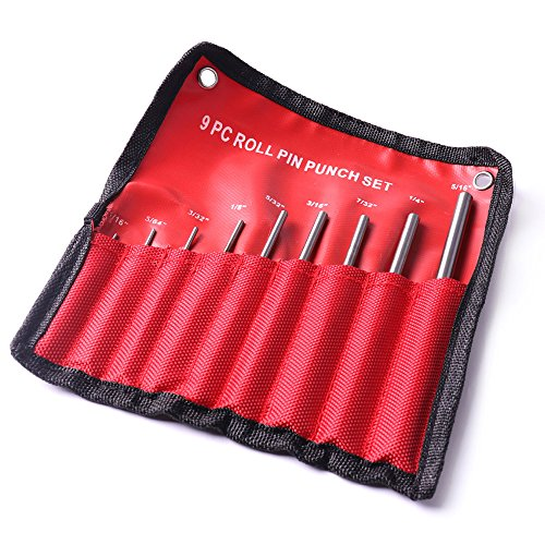 9pcs Round head Pins Punch size 1/16 5/64 3/32 1/8 5/32 3/16 7/32 1/4 5/16 40CR steel Grip Roll Pin Punch Tool Set by Isguin (Image #3)