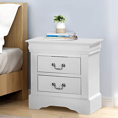 HomVent Retro Nightstand with 2 Drawers, Vintage Solid Wood Accent Nightstand Sofa Table, Traditional Design Bedside Storage Cabinet End Side Table Chest, Fully Assembled, White