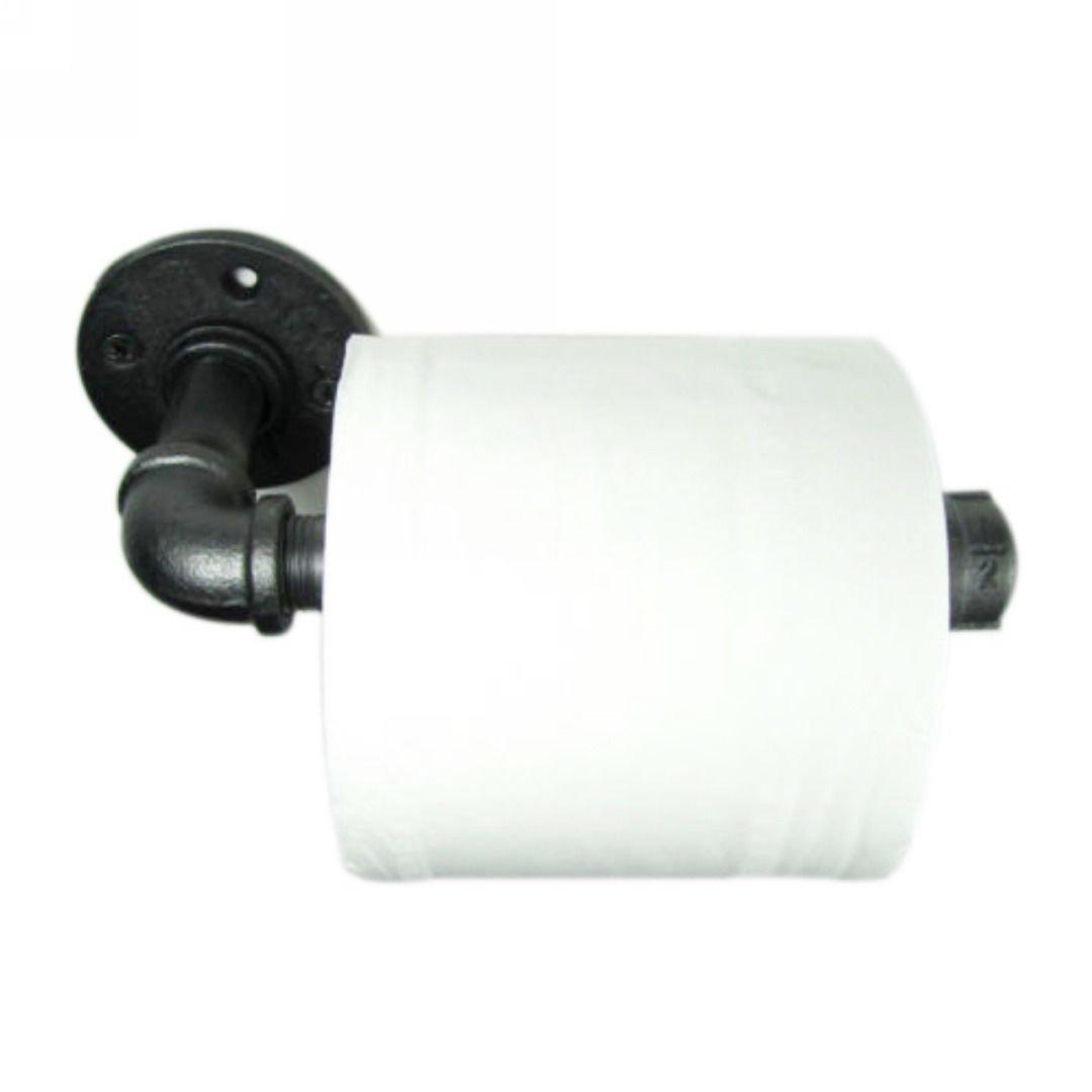 imqoq de estilo urbano industrial tubo de hierro de metal montado en la pared soporte de papel higiénico rodillo rústico: Amazon.es: Bricolaje y ...