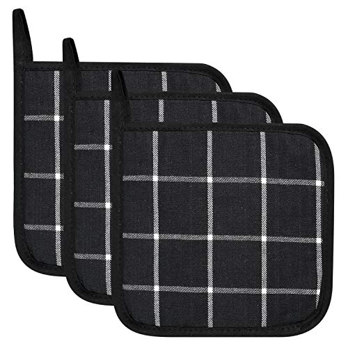 Lifaith 100% Cotton Kitchen Everyday Basic Terry Pot Holder Heat Resistant Coaster Potholder for Cooking and Baking 7 x 7-Inch Set of 3 Black Plaid ()