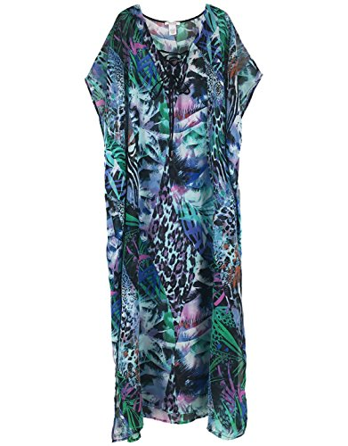 Print Caftan - Moss Rose Women's Beach Cover up Caftan for Swimsuit Bathing Suit with Floral Print