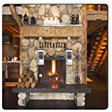 Rikki Knight 8917 Double Toggle Rustic Fireplace Design Light Switch Plate