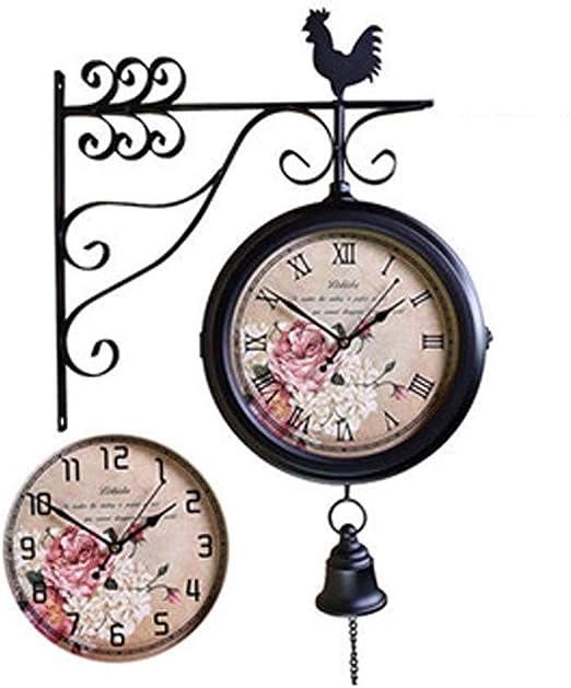 UHRKS Reloj de Pared, jardín Exterior de Doble Cara en la estación de Tren con Soporte