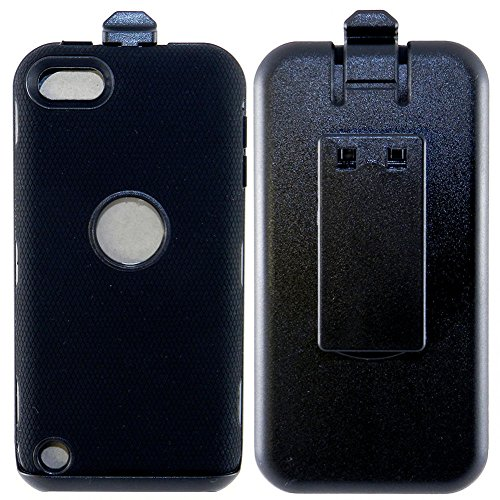 mySimple Drop Proof Hybrid Armor Design Case for iPod 5 with Built in Screen Protector & with Belt Clip Holster Combo {Dark Slate Black Colors}