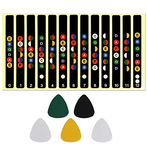 GOLRISEN Fretboard Fret Map Color Guitar Trainer Notes with 5 Picks Beginner 6 Strings Guitar Scale Stickers(Standard Edition)