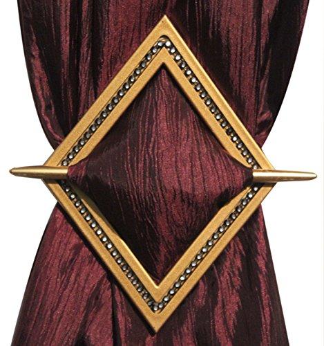 Set of 2 Decorative Curtain Holdbacks Window Curtain Tieback, Bling Diamond, 8x6, Bronze, Silver, Gold, and Black (Gold)