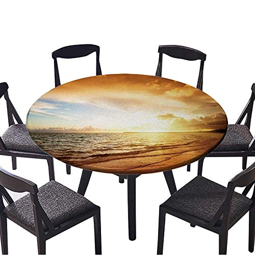 Maple Desk Atlantic (The Round Table Cloth Sunrise and Atlantic Ocean in Dominican Republic for Birthday Party, Graduation Party 35.5