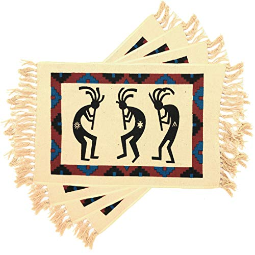 El Paso Saddleblanket Southwest Style Placemats, Set of 4 for Themed Party or Wedding Decorations, 13in x 28in (Kokopelli)