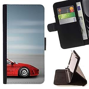 - RED BLURRY SUPERCAR SPEED CAR FAST SPROTSCAR - - Prima caja de la PU billetera de cuero con ranuras para tarjetas, efectivo desmontable correa para l Funny HouseFOR LG G2 D800