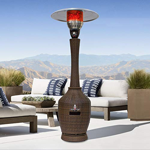 Palermo T-Line 7 Foot Propane Commercial Umbrella Heater, Manual Ignition, Wicker Bronze Finish