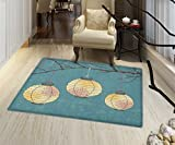 "Lantern Floor Mat for kids Three Paper Lanterns Hanging on Branches Lighting Fixture Source Lamp Boho Customize door mats for home Mat 16""x24'' Teal Pale Yellow"