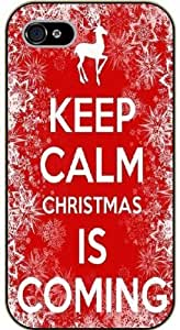 iPhone 4 / 4s Keep calm and Christmas is coming - black plastic case / Keep calm, funny, quotes, red vintage