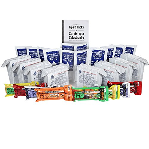 S.O.S. Rations Survival Emergency 3600 Calorie Food Bar + Pouch Emergency Purified Drinking Water + Assorted Millenium Energy bars w/ Tips Guide by Jeff Brown