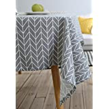 Art Small Fresh Geometric Cotton And Linen Tablecloth cloth Rectangular Tea Table Desk Cover(Grey,39x55In)