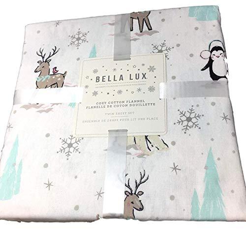 Bella Lux Polar Bear Penguin Deer Christmas Tree Flannel Sheet Set - Full Size with White Background (All Cotton Flannel) All Cotton Flannel