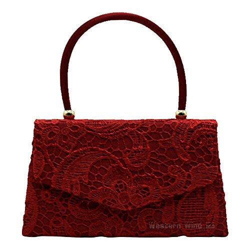 Wocharm Bag Evening Burgundy Bridal Prom Bag Lace Clutch Lace Ladies Envelope Handbag Bag Bag Wedding Handbag TM 1 rnYwSRxr