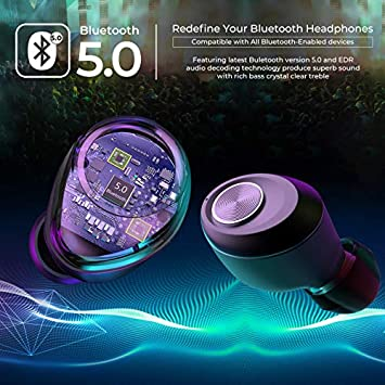 Bluetooth Headphones V5.0 Wireless Earbuds with Noise Cancelling Deep Bass Stereo Sound Sport Earphone Auto Pairing and Charging with Charging Case