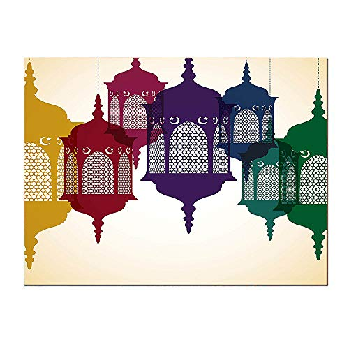 Islamic Antique (SATVSHOP Art painting-60Lx32W-Lantern Antique Colorful Arabian Lantern Hang on Sky Traditional Islamic Art Dign Purple ed Yellow Green.Self-Adhesive backplane/Detachable Modern Decorative.)